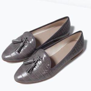Zara Grey Tassel Flats (NWOT)